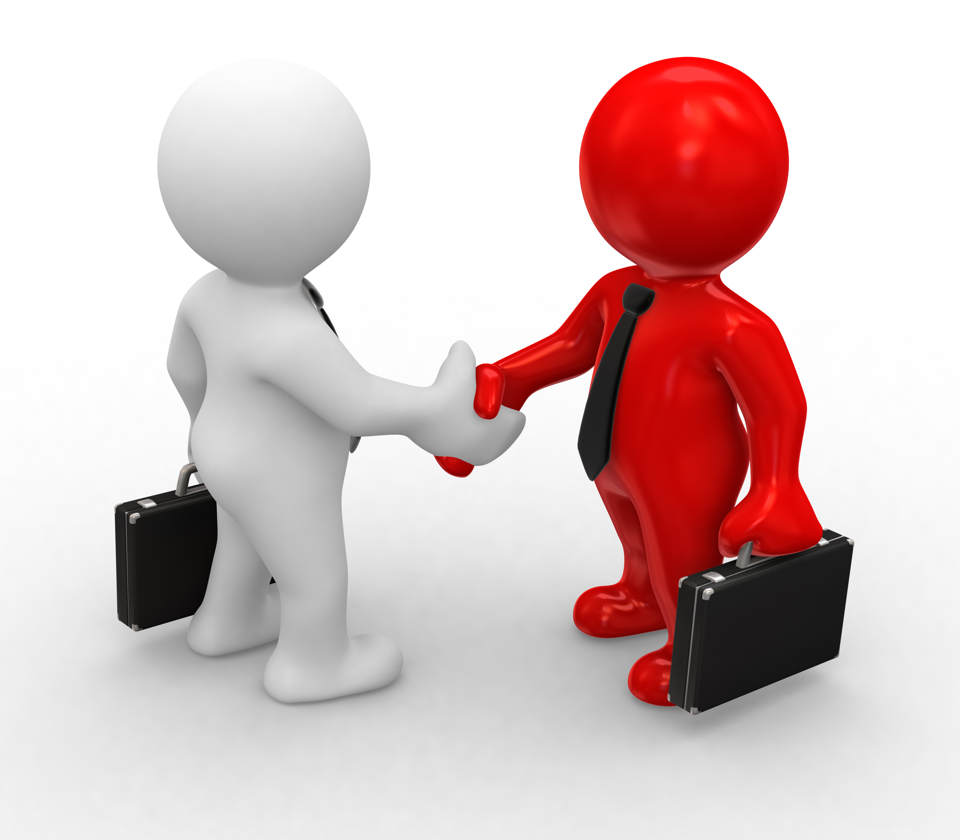 3d bussines white and red humans make a handshake